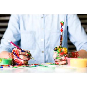 フリー写真, 人体, 手, 画材, 絵筆(画筆), 絵の具