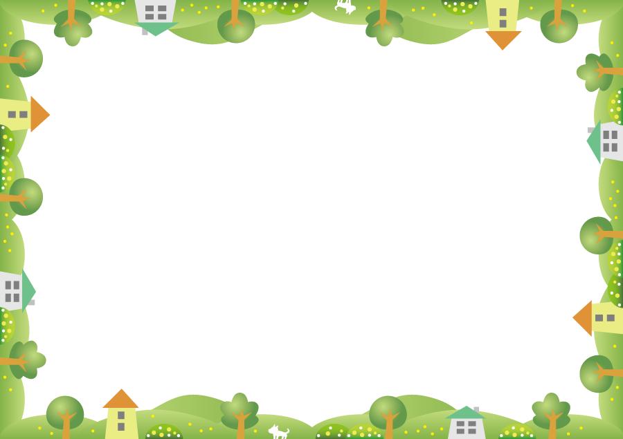 フリーイラスト 丘と木と家の田舎の飾り枠
