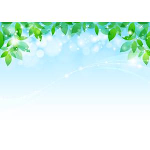 フリーイラスト, ベクター画像, AI, 背景, 植物, 葉っぱ, 新緑, 青空, 玉ボケ, 輝き
