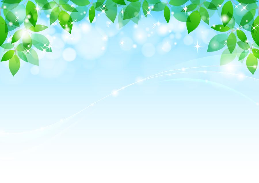 フリーイラスト 青空と新緑の葉っぱの背景