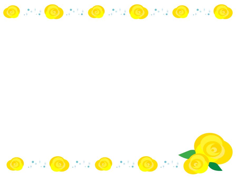 フリーイラスト 黄色のバラの花の父の日の飾り枠