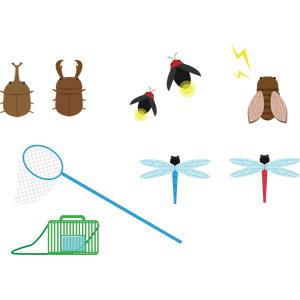フリーイラスト, ベクター画像, AI, 動物, 昆虫, クワガタムシ, カブトムシ, 蝉(セミ), 蛍(ホタル), 虫取り網(虫捕り網), 虫取りかご, 昆虫採集, 夏, 夏休み, トンボ
