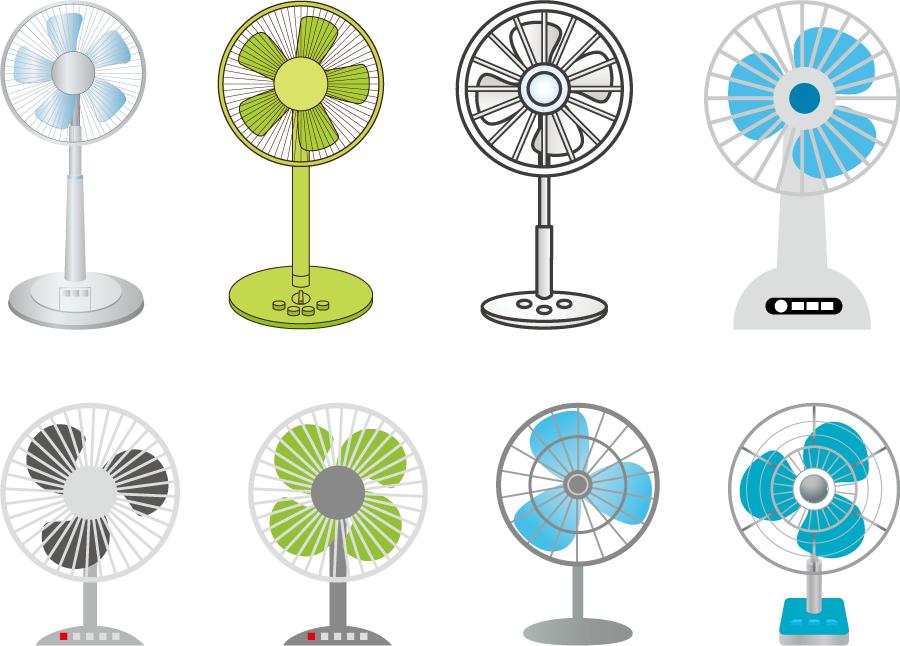 フリーイラスト 8種類の扇風機のセット