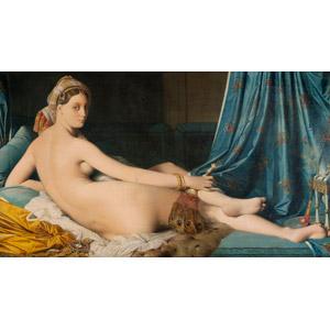 フリー絵画, ドミニク・アングル, 人物画, 女性, 外国人女性, 横たわる, 振り返る