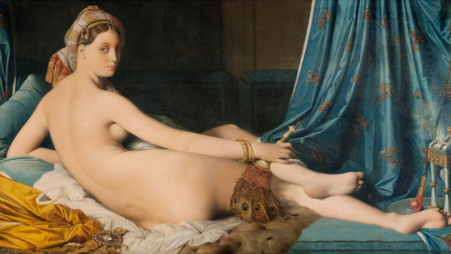 フリー絵画 ジャン=オーギュスト・ドミニク・アングル作「グラン・オダリスク (横たわるオダリスク)」