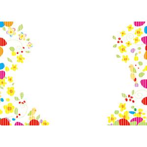 フリーイラスト, ベクター画像, AI, 背景, フレーム, 左右フレーム, 花柄, 小鳥