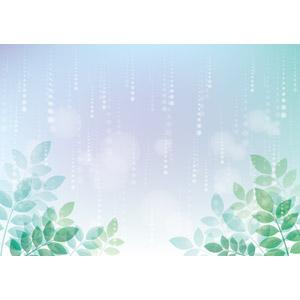 フリーイラスト, ベクター画像, AI, 背景, 6月, 梅雨, 雨, 植物, 葉っぱ