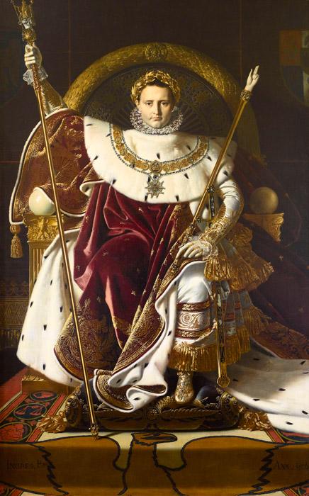 フリー絵画 ジャン=オーギュスト・ドミニク・アングル作「玉座のナポレオン」
