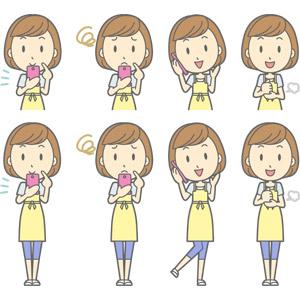フリーイラスト, ベクター画像, AI, 人物, 女性, 女性(00193), 主婦, 母親(お母さん), エプロン, 携帯電話, スマートフォン(スマホ), 困る, 通話, 納得する, 分かる