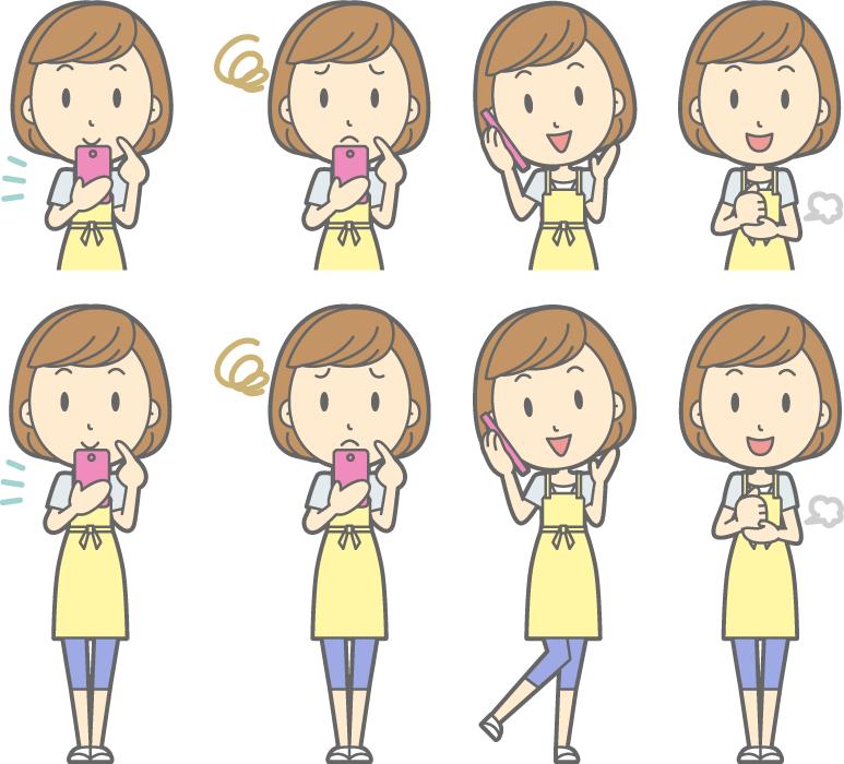 フリーイラスト スマホを使うなどの8種類の主婦のセット