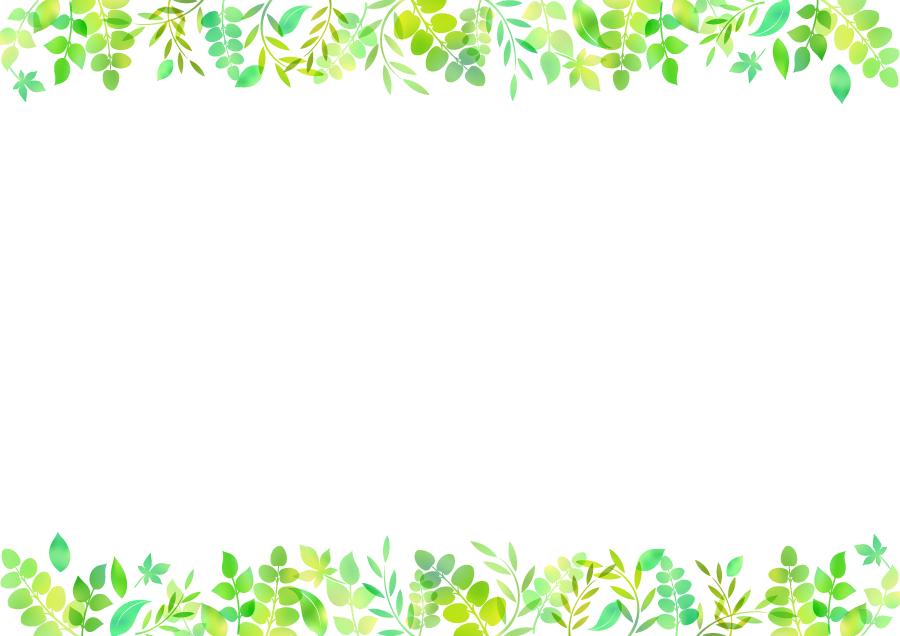 フリーイラスト 緑色の若葉の飾り枠