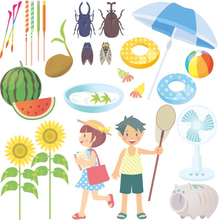 フリーイラスト 夏休み関連のセット