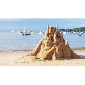 フリー写真, 風景, ビーチ(砂浜), 海, 砂遊び, 城, 船, ヨット, ボート