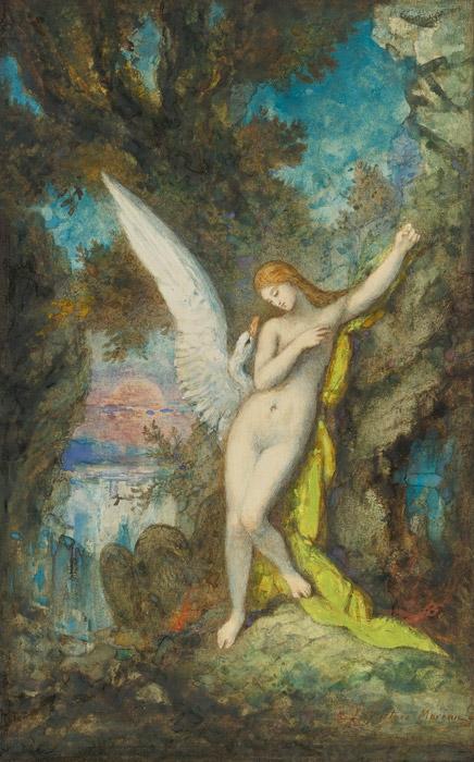 フリー絵画 ギュスターヴ・モロー作「レダと白鳥」