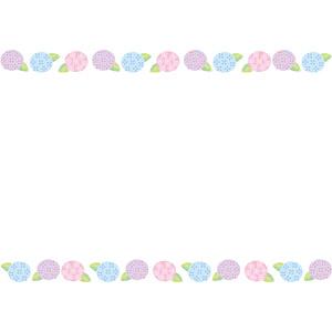 フリーイラスト, ベクター画像, AI, 背景, フレーム, 上下フレーム, 植物, 花, 紫陽花(アジサイ), 6月, 梅雨