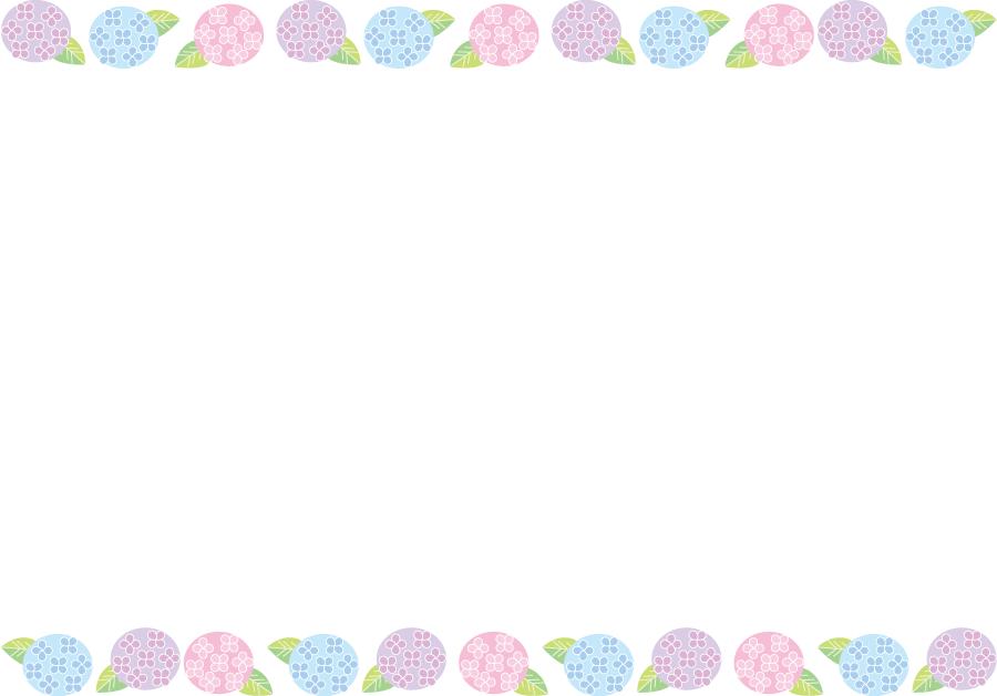 フリーイラスト アジサイの花のフレーム