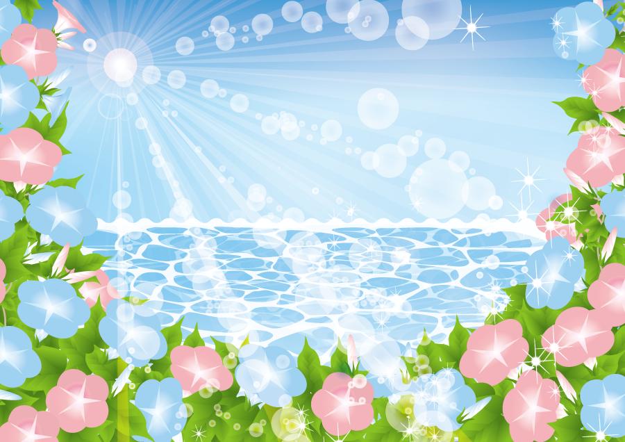 フリーイラスト 海と太陽の光とアサガオの花の背景