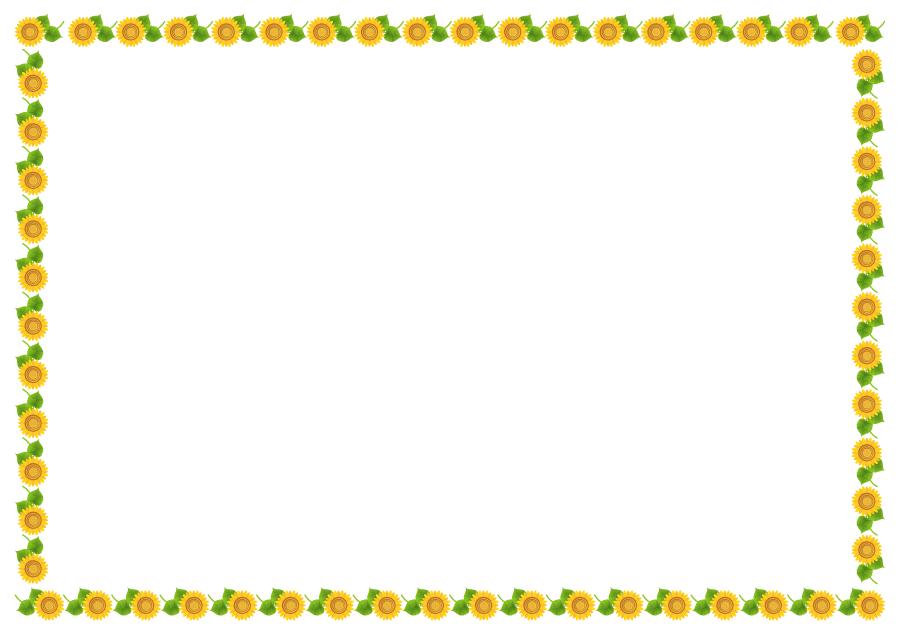 フリーイラスト ひまわりの花の囲みフレーム