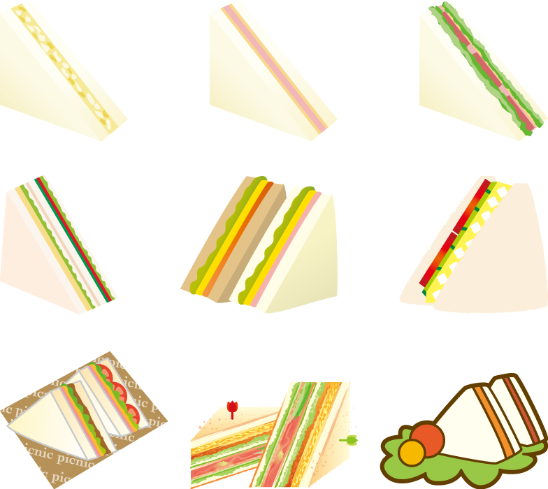 フリーイラスト 9種類のサンドイッチのセット