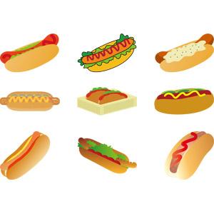 フリーイラスト, ベクター画像, AI, 食べ物(食料), パン, ホットドッグ, ファーストフード, ソーセージ(ウィンナー)