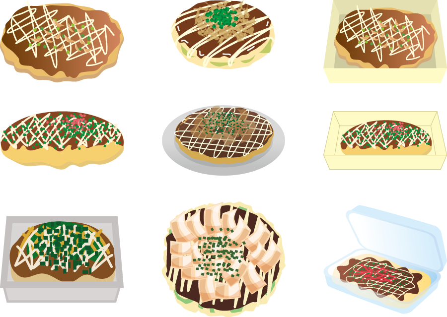 フリーイラスト 9種類のお好み焼きのセット