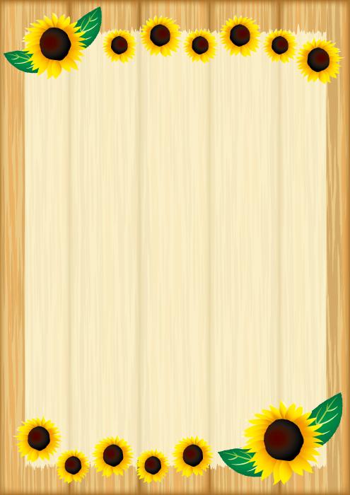 フリーイラスト ひまわりと木の掲示板