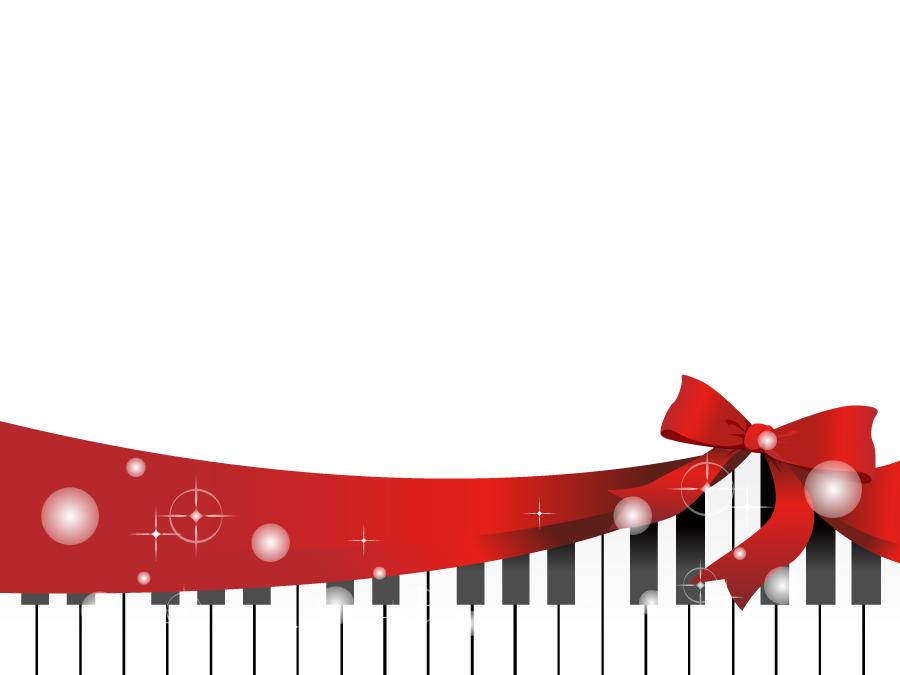 フリーイラスト 白色のピアノとリボンの背景