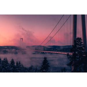 フリー写真, 風景, 建造物, 橋, 朝, 朝焼け, 霧(霞), スウェーデンの風景
