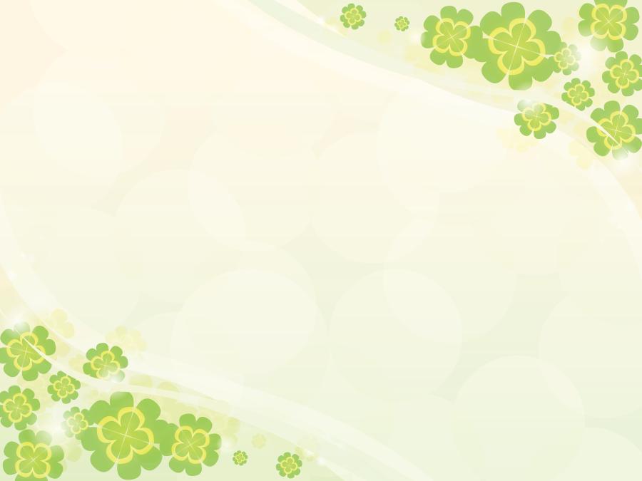 フリーイラスト 対角状の四つ葉のクローバーのフレーム
