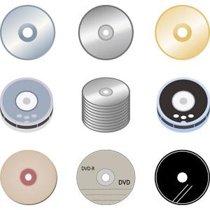 フリーイラスト, ベクター画像, AI, 補助記憶装置, ディスクメディア, CD, DVD