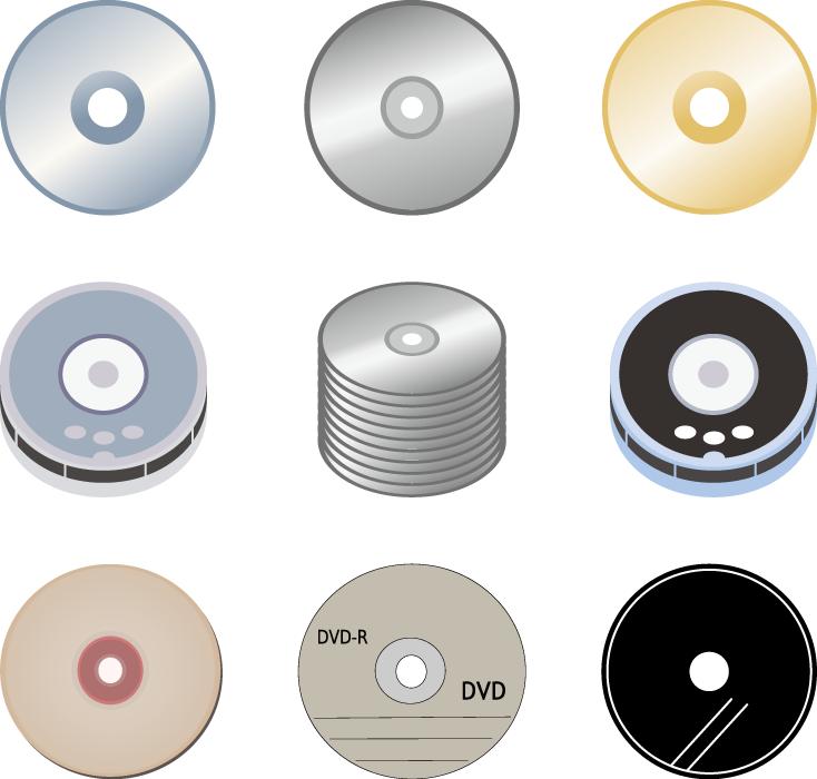 フリーイラスト DVDやCDなどの9種類のディスクメディアのセット