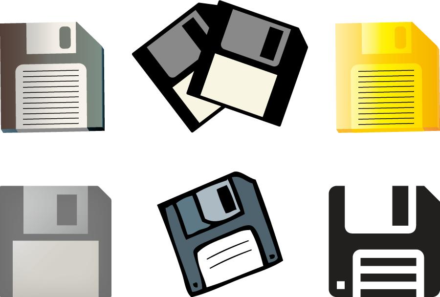 フリーイラスト 6種類のフロッピーディスクのセット