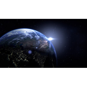 フリーイラスト, 宇宙, 天体, 惑星, 地球, 太陽光(日光)