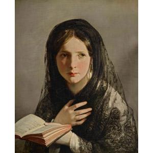 フリー絵画, フリードリヒ・フォン・アメリング, 人物画, 少女, 外国の少女, 胸に手を当てる, 読む(読書), 本(書籍), ベール