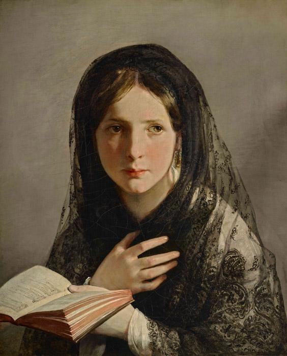 フリー絵画 フリードリヒ・フォン・アメリング作「夢に浸って」
