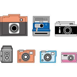 フリーイラスト, ベクター画像, EPS, カメラ, インスタントカメラ, ポラロイドカメラ, 一眼レフカメラ, 二眼レフカメラ, コンデジ