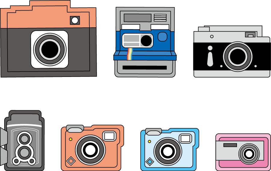 フリーイラスト 7種類のカメラのセット