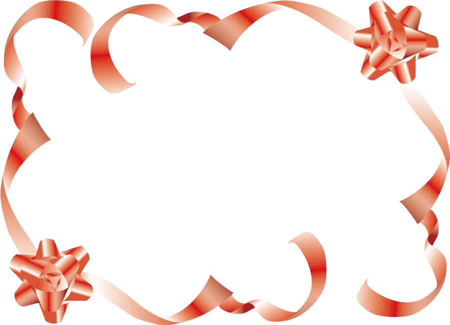 フリーイラスト 花リボンのフレーム