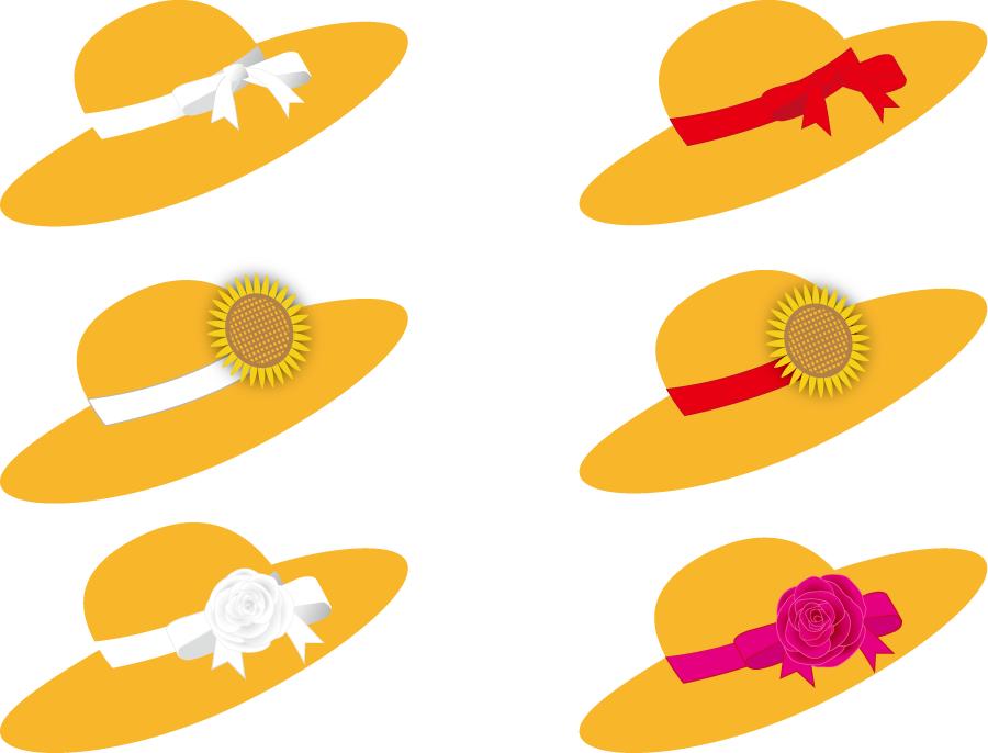 フリーイラスト 6種類の麦藁帽子のセット