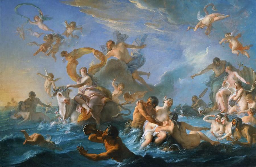 フリー絵画 ノエル=ニコラ・コワペル作「エウロペの誘拐」