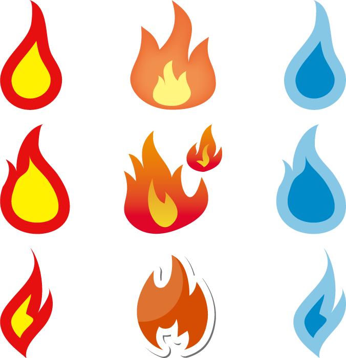 フリーイラスト 9種類の炎のセット