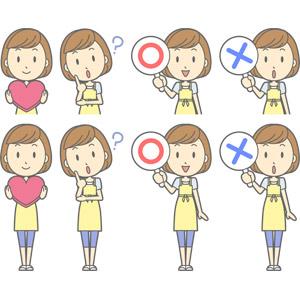 フリーイラスト, ベクター画像, AI, 人物, 女性, 女性(00193), 主婦, 母親(お母さん), エプロン, ハート, よく分からない, 首を傾げる, マルバツ札, マル印, バツ印, 正解, 間違い