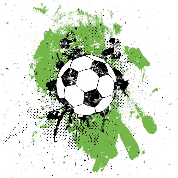 フリーイラスト サッカーボールとペンキの汚れの背景