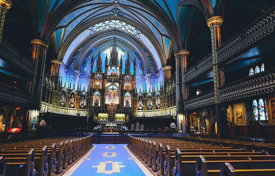 フリー写真 モントリオール・ノートルダム聖堂の内部風景