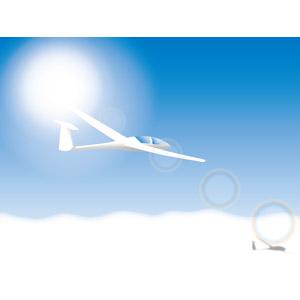 フリーイラスト, ベクター画像, AI, 乗り物, 航空機, グライダー, 青空, 雲, 雲海, 太陽光(日光)