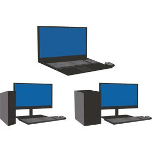 フリーイラスト, ベクター画像, AI, 家電機器, パソコン(PC), デスクトップパソコン, ディスプレイ(モニタ), 液晶ディスプレイ, ノートパソコン, キーボード(PC), マウス