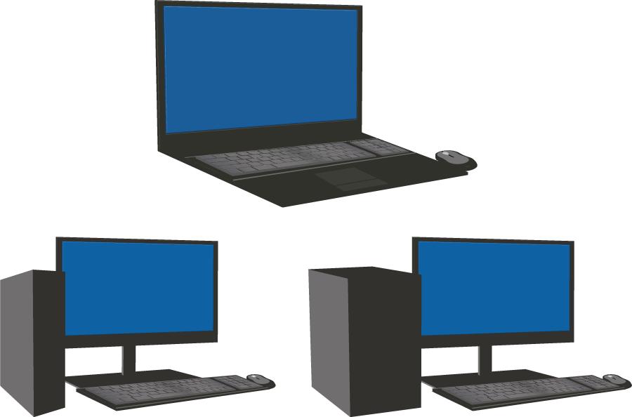 フリーイラスト 3種類のパソコンのセット
