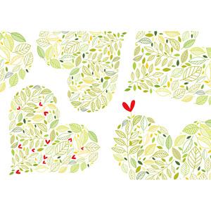 フリーイラスト, ベクター画像, AI, 背景, 植物, 葉っぱ, ハート