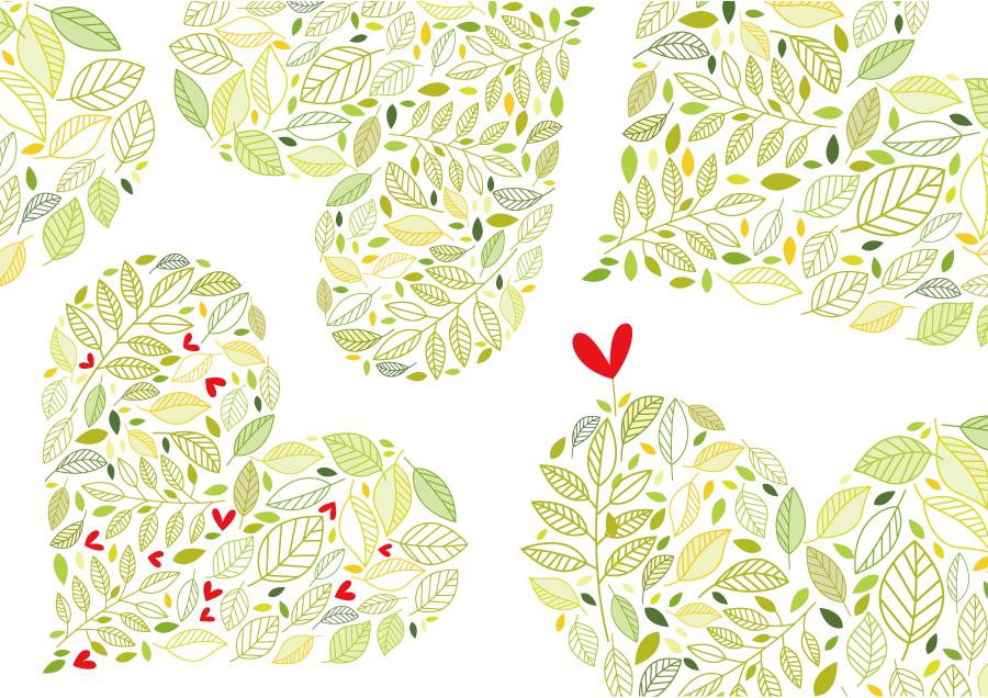 フリーイラスト ハート型の葉の背景