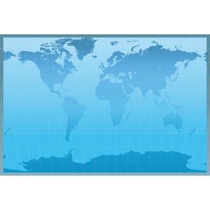 フリーイラスト, ベクター画像, EPS, 地図, 世界地図, 青色(ブルー)